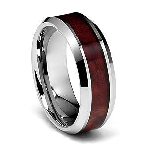 8mm Genuine Mahogany Wood Inlay Mens Tungsten Wedding Band