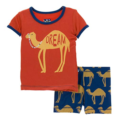 Kickee Pants Little Boys Print Short Sleeve Pajama Set with Shorts - Navy Camel, 2T