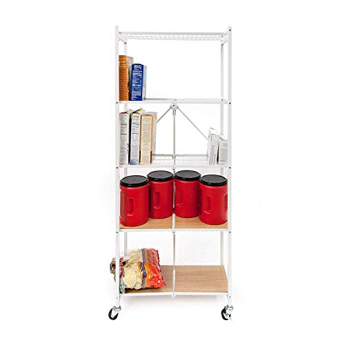 Origami 5-Shelf Organizer Slim Rack | Open Style, Large Book Shelf, Tall Bookcase, Kitchen Pantry Shelving, Freestanding, No Assembly/no Tools Required, Modern Vertical Furniture | White