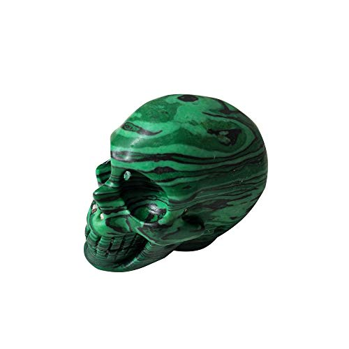 (2 inch Handmade Natural Rock Quartz Crystal Carved Skull Realistic Fengshui Healing Ability Stone Home Ornament Art Collectible (Malachite, 2 inch))