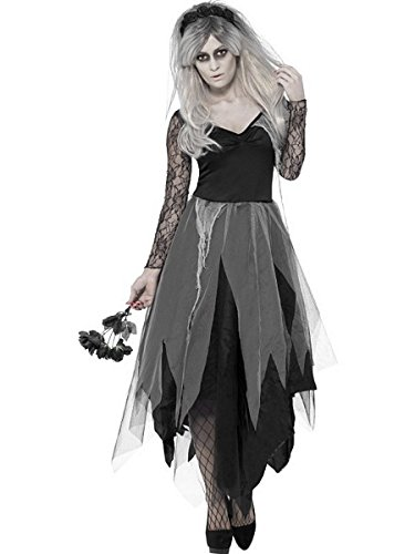 Costume Womens Devil Uk (Smiffy's Women's Graveyard Bride Costume, Dress and Rose Veil, Legends of Evil, Halloween, Size 10-12,)