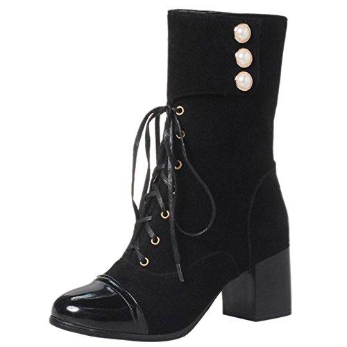 Medium Up Block Heel Lace Boots Women Black SM Western Coolcept Martin qwtnOHqW