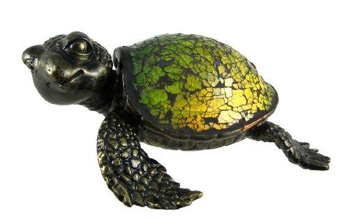 Cute Mosaic Green Glass Sea Turtle Accent Lamp (Crush Table Lamp 1 Light)