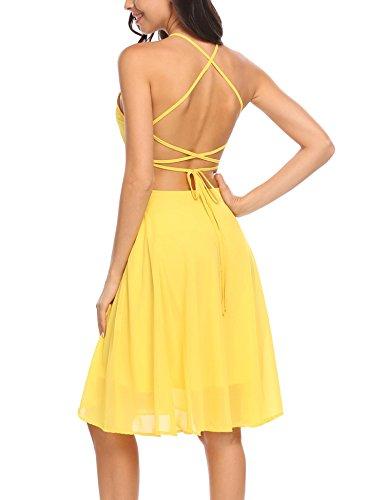 zeagoo Women Halter Neck Spaghetti Strap Sleeveless Mini Chiffon Casual Dress, Yellow, L