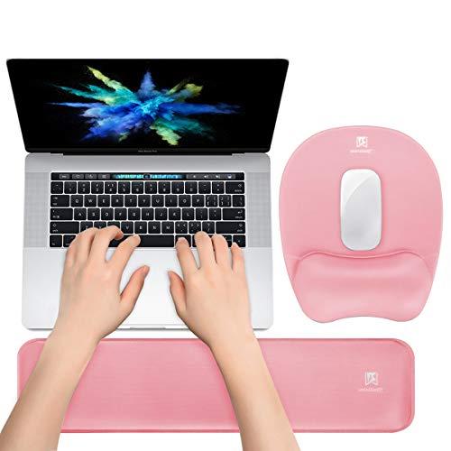 Memory Foam Set Keyboard Wrist Rest Pad & Mouse Wrist Rest Support,Ergonomic Design for Office,Home Office,Laptop,Desktop Computer,Gaming Keyboard - Pink (Desk Pad Sets)
