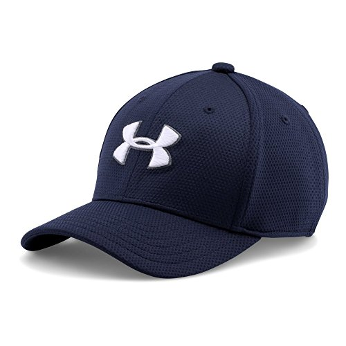 Youth Cap Logo (Under Armour Boys' Blitzing II Stretch Fit Cap, Midnight Navy/White, Youth Small/Medium)