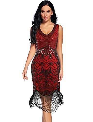 Club Costume Dress - Flapper Girl 1920s Sequin Floral Maxi Long Gatsby Flapper Prom Club Dress (L, Red)
