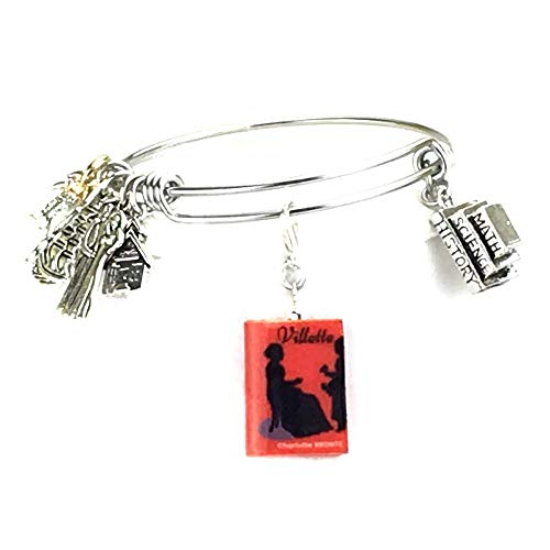 Villette Charlotte Bronte Clay Mini Book Stainless Steel Expandable Bangle Bracelet by Book Beads