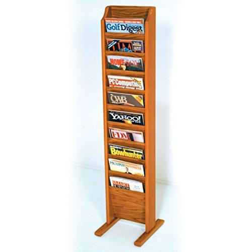Wooden Mallet 10-Pocket Cascade Free-Standing Magazine Rack, Medium Oak (Freestanding Oak Magazine Rack)