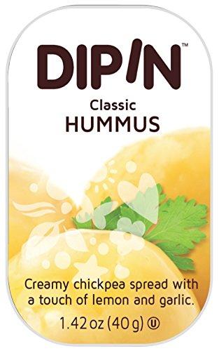 - Sheffa DipIn Hummus Dip Spread - Natural Chickpeas Hummus Travel Snack Pack Size, 1.42 Ounce (Pack of 12) - Vegan | Kosher | Gluten Free | No MSG | Non-GMO | No Trans Fat | No Cholesterol