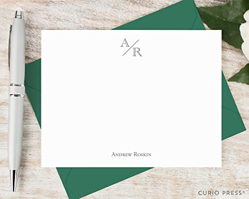 Cards Casual Correspondence (ACADEMY MONOGRAM - Personalized Flat Casual Stationery/Stationary Set)