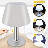 Table Lamp Led Solar Lights with Pull Chain Switch Indoor Outdoor Dimmable Rechargeable Night Light Mordern Desk Lamp for Bedside,Bedroom,Living Room-White