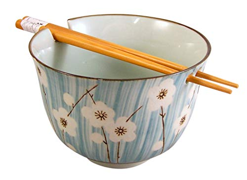 (White Flowers with Blue Stripe Background Japanese Noodle Bowl with Chopstick Holder and Wooden Chopsticks, 5 Inch)