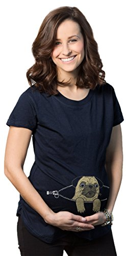 Maternity Peeking Pug Cute Dog T Shirt Funny Pregnancy Tee for Women (Navy) M -