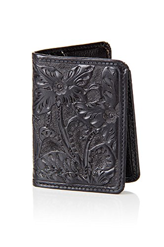 - Las Flores Hand-Tooled Leather Billfold Wallet