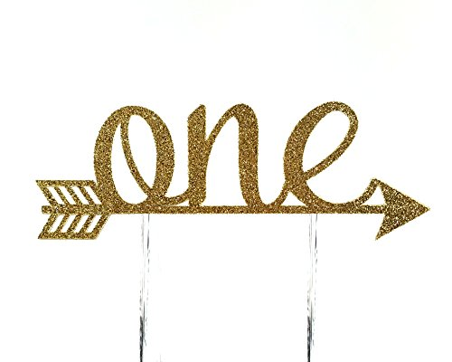 CMS Design Studio Handmade 1st First Birthday Cake Topper Decoration - one with Arrow - Made in USA with Double Sided Gold Glitter Stock
