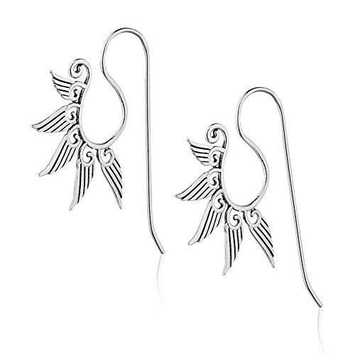 Spiral Silver Hook Earrings - 925 Sterling Silver Modern Big Statement Swirls & Wings Wire Hook Drop Earrings