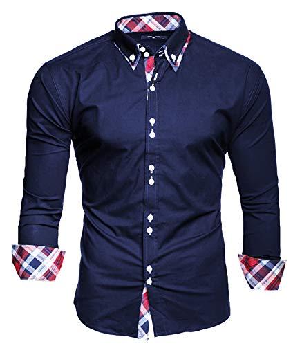 S Slim Camicia Stiro Kayhan Lungo M Fit Musterärmel Facile Maniche Cotone L Xl Xxl 2xlmodello Navy Originale Uomo VqSUzMp