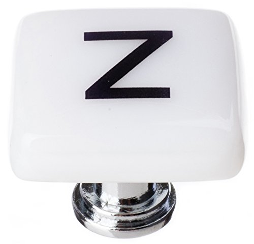 Sietto K-1125-ORB New Vintage Square Letter z Knob with Oil Rubbed Bronze Base, White ()