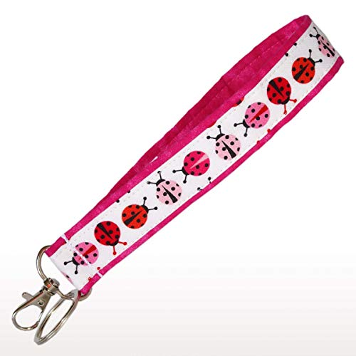 Pink Ladybug Key Fob - Pink, Red and White - Ladybug Keychain - Strap Key Chain - 1 Inch Wide - 6 Inch Loop - Purse or Wallet Strap