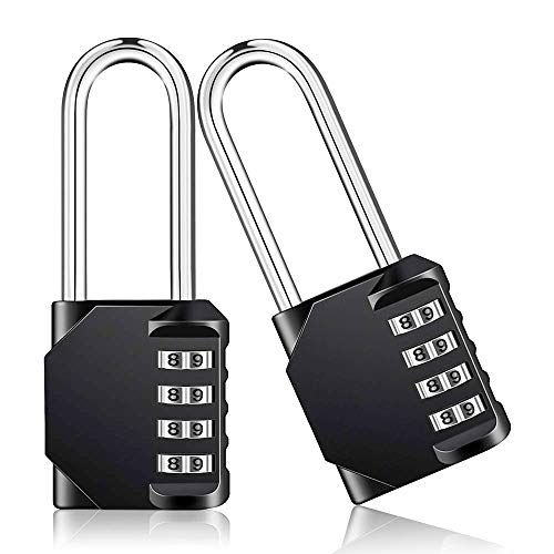 (SALEM MASTER 4 Digit Outdoor Combination Locks 2.5 Inch Long Shackle Combination Gate Locks, Padlock for Gym Locker, Hasp Cabinet, Fence, Toolbox (Black-2 Pack))