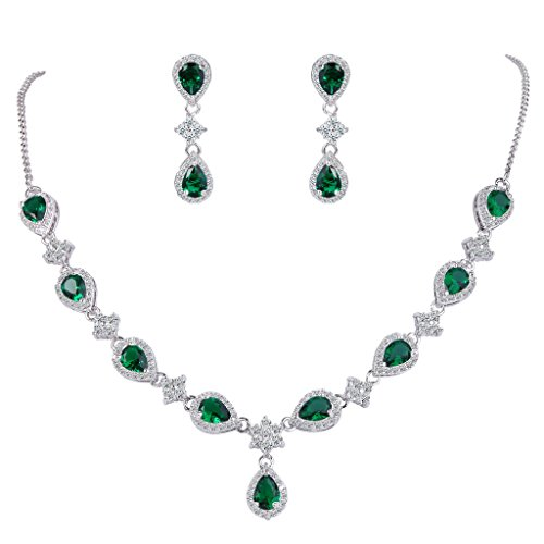 EleQueen Women's Silver-Tone Cubic Zirconia Teardrop Flower Bridal V-Necklace Set Dangle Earrings Emerald Color ()