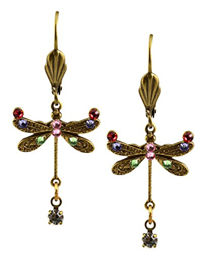 Anne Koplik Dragonfly Earrings, Multicolor Antique Gold Plated Crystal Dangle