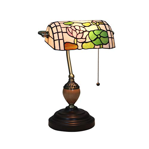 Carl Artbay Home Table Lamp Nostalgic Bank Light Tiffany Style Table Lamp Lotus and Lotus Leaf Colored Glass Bedroom Light Hand Pull Switch Light High-end Decorative Lights