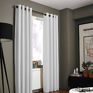 Gorgeous Home (#34) 1 PANEL SOLID PURE WHITE 63″ SHORT 100% BLACKOUT TEXTURE HEAVY THICK THERMAL FOAM LINED WINDOW CURTAIN DRAPE SILVER GROMMETS