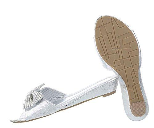 Damen Sandalen   Strass Pantoletten   Sommerschuhe Strass Schleife   Metallic Spitze   Keilabsatz Pantolette   Wedges Sandale   Schuhcity24 Silber
