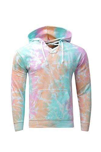 (Kara Hub Long Sleeve Pullover Pastel V Neck Tubular Drawcord Tie Dye Hoodie Sweatshirt (Small, Pink Apricot))