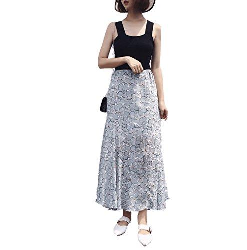 Floreale Vintage Stampato Donna Skirt Plissettato Fuweiencore Bohemian Azzurro Chiffon Holiday Beach Gonna Mermaid Long qB1v1wPI