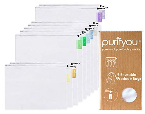 purifyou 9-piece Premium Reusable Produce Bags with Drawstring And Colorful Tare Weight Tags | See-though White…