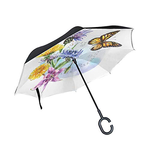 1cd2bc7b2cf4 Inverted Umbrella Double Layer Reverse Umbrella Waterproof Windproof UV  Protection Straight Umbrella with C-Shaped Handle Monarch Butterfly Flowers  ...