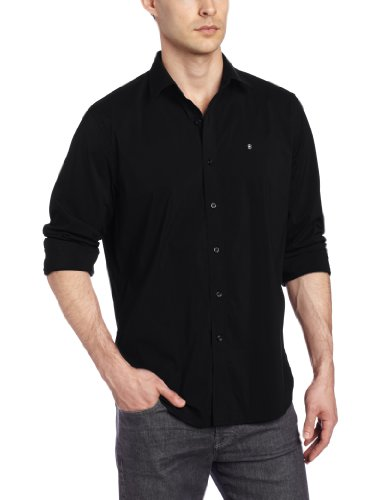 Victorinox Men's Villamont Tailored Fit Long Sleeve Solid Strech Shirt, Black, Small