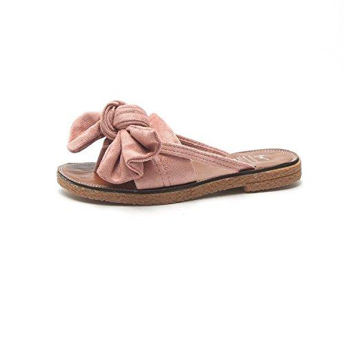 Flat Sweet Female Bowslip Pink Seaside slippers Leisure Wild Student Slippers Summer Beach WHLShoes women Oq8n0XOZ
