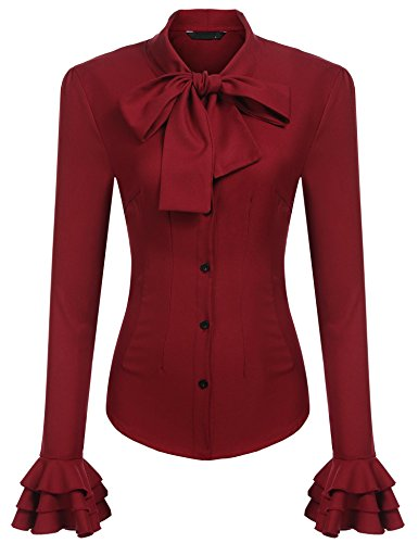 - Zeagoo Women Ruffle High Neck Blouse Long Sleeve Button Down OL Tops Wine Red L