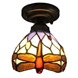 Tiffany Style Close to Ceiling Light,Semi Flush Mount Ceiling Lamp,Vintage Fixture Dragonfly LED Ceiling Chandelier for Study - Bedroom - Dining Room - Hallway (Color : Yellow - Size : 1511cm)