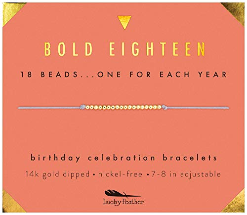 Lucky Feather Milestone 18th Birthday Gifts for Girls - 14K Gold Dipped Beads Bracelet on Adjustable 7