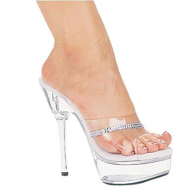 fa781851164bd0 6 Inch Rhinestone Heel Mule Women s Size Shoe With Rhinestone Detail On Toe  (Clear
