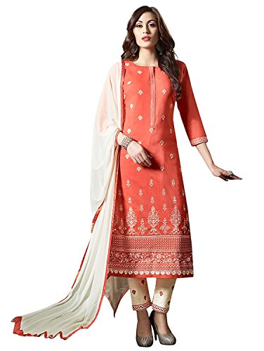 Ready Made Orange & White Cotton Embroidered Long Churidar Straight Cut Salwar Suit - 10005 (Customize Stitched)