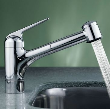 KWC 10.061.033.127 DOMO Single-Lever Pull Out Kitchen Faucet, Splendure Stainless ()