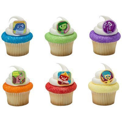 DISNEY INSIDE OUT 24 Piece Birthday Cupcake RING Topper Set