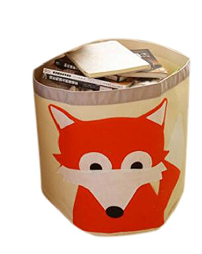 Fox Wastebasket (Johnnyhw Cartoon Animal Waste Basket of Organic Cotton Baby Folding Toy Receive Bag, Fox,44.543cm)