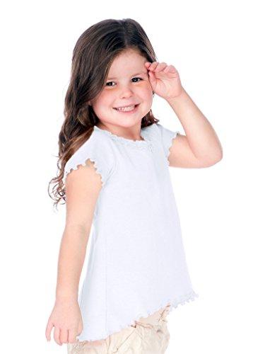 Kavio! Little Girls 3-6X Lettuce Edge Ruffles High Low Short Sleeve Top White 6X - Lettuce Edge T-shirt
