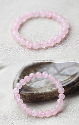 Bracelets Stretch Cords Pink Rose Quartz Opal Agate Glass Crystal Bracelet Gem Natural Stone Jewelry Smooth Beads Charm Elastic Cord Ropes (6mm pink)