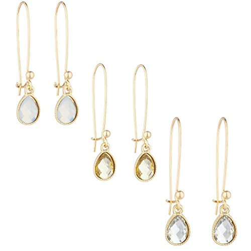 Lux Accessories Gold Tone Teardrop White Opal Stone Trio Multi Earring Set 3PC - Trio Hoop Earrings Set