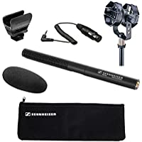 Sennheiser MKE 600 Shotgun Microphone with Audio-Technica AT8415 Shock Mount and Sennheiser KA 600 - XLR Female to 1/8 TRS Male Connection Cable – 15""