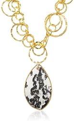 """Devon Leigh Snow Leopard Agate Pendant Necklace, 19"""""""
