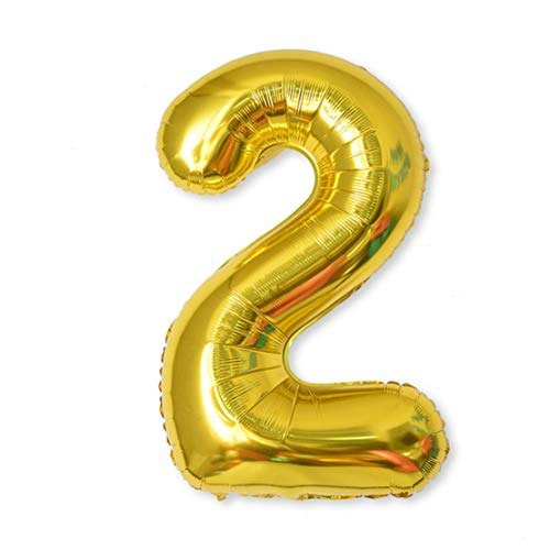 Balloon Number, 40 inch Gold Foil Balloons Numbers Mylar 0-9 Birthday Party Decorations of Arabic Number for Birthday Party, Wedding, Bridal Shower, Engagement Photo Shoot, Anniversary (2)]()